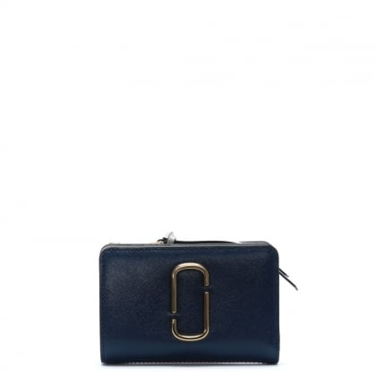 Snapshot Compact Blue Sea Leather Wallet