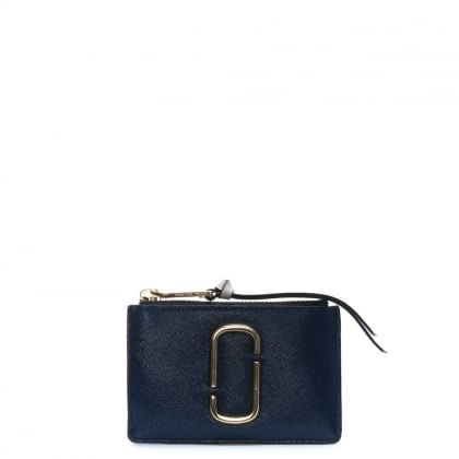 Snapshot Top Zip Compact Blue Sea Leather Wallet