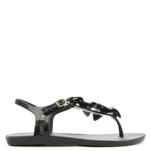 Solar Hawaii Black Floral Toe Post Sandal