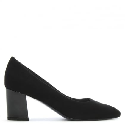 eafa344419 Calpierre Sonata Black Suede Gloss Heel Court Shoes