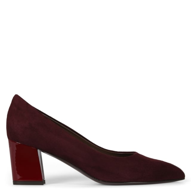 Calpierre Sonata Burgundy Leather Block Heel Court Shoes