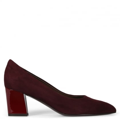 Sonata Burgundy Leather Block Heel Court Shoes