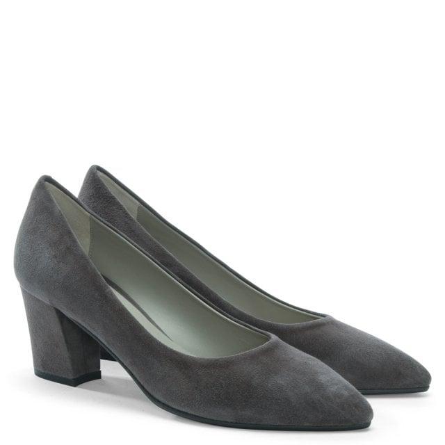 e34cf37399 Calpierre Sonata Grey Suede Block Heel Court Shoes