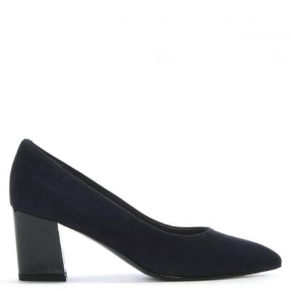 e41e220424 Calpierre Sonata Navy Suede Gloss Heel Court Shoes