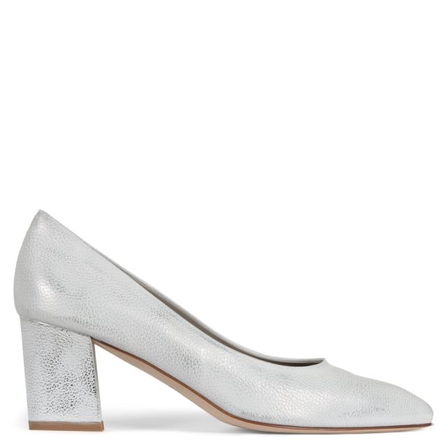 Calpierre Sonata Silver Metallic Leather Block Heel Court Shoes