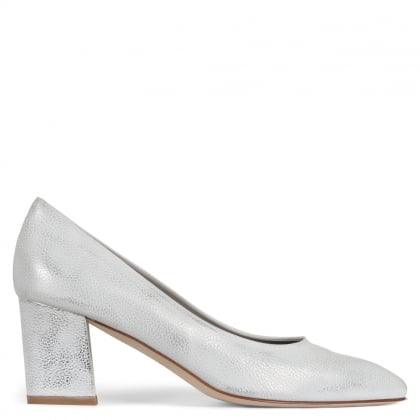 Sonata Silver Metallic Leather Block Heel Court Shoes