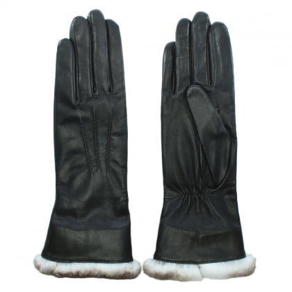 Sonia Black Leather Fur Trim Long Line Gloves