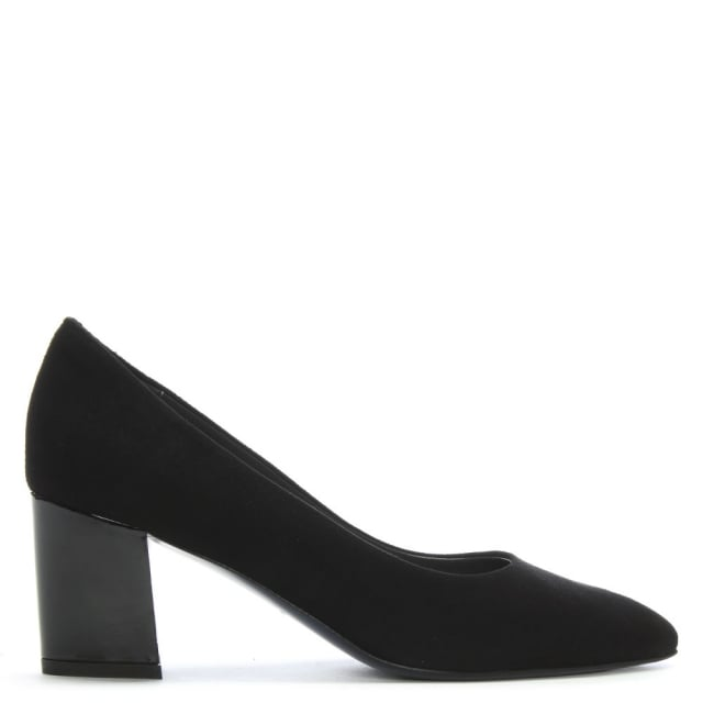 Calpierre Sonta Black Suede Gloss Heel Court Shoes