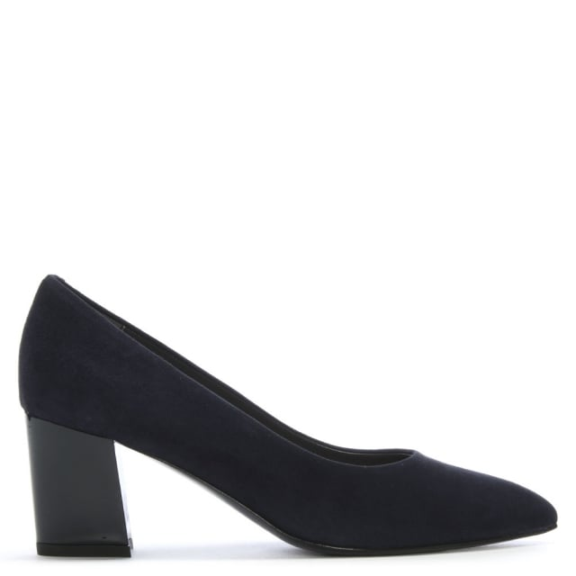 Calpierre Sonta Navy Suede Gloss Heel Court Shoes