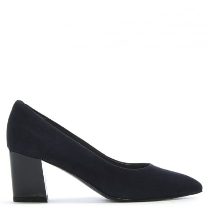 Sonta Navy Suede Gloss Heel Court Shoes