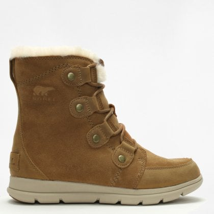 682f35292 Sorel Cozy Joan Camel Brown & Ancient Fossil Suede Ankle Boots