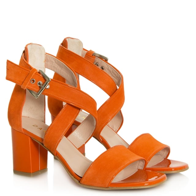 5698cd3a81e Daniel Southaven Orange Suede Block Heel Cross Strap Sandal