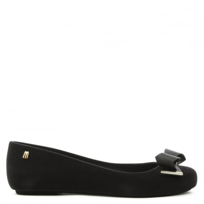 Space Love Black Flocked Wave Bow Ballerina Flat