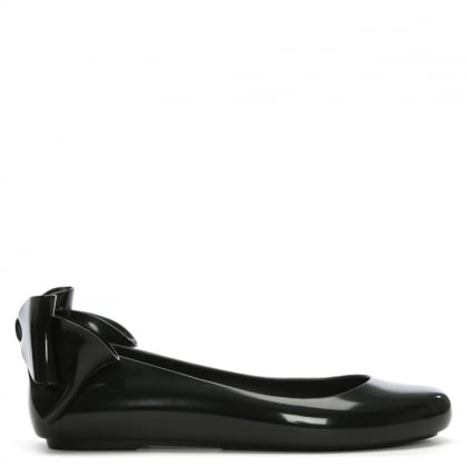 Space Love Bow Black Ballerina Flats
