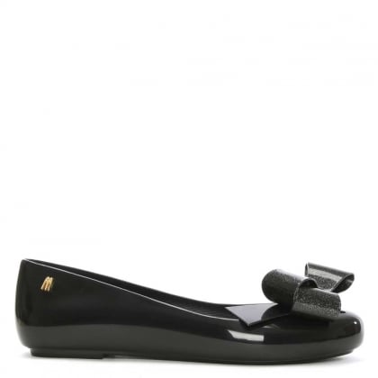 Space Love Glitter Ribbon Black Ballerina Flat