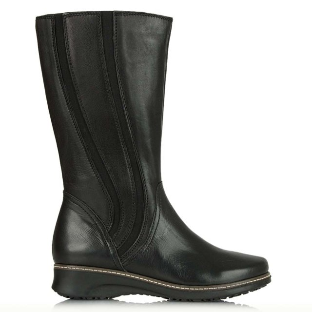 Spalding Black Leather Elastic Paneled Calf Boot