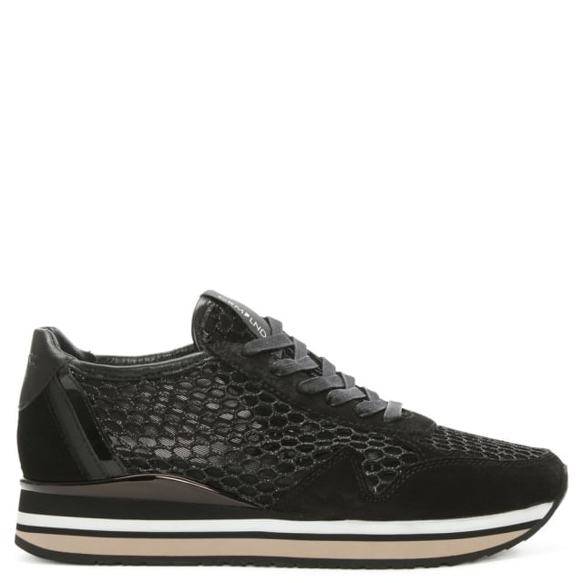 Speed Border Black Mesh & Suede Lace Up Trainer
