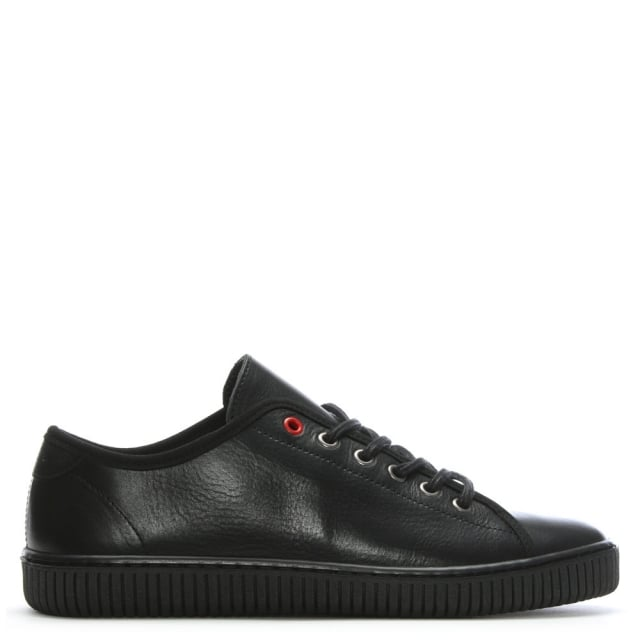 Spence Black Leather Lace Up Trainers