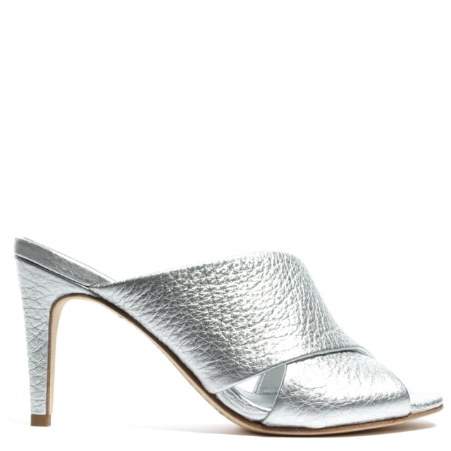 Sphynx Silver Leather Cross Front Mule