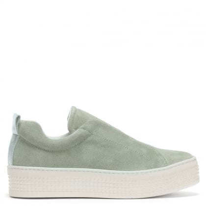 Spooks Green Suede Laceless Pumps
