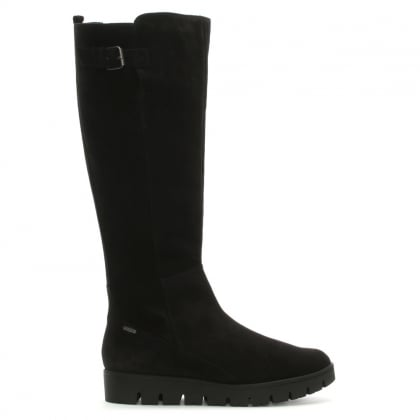 Sports Black Suede Knee High Boots