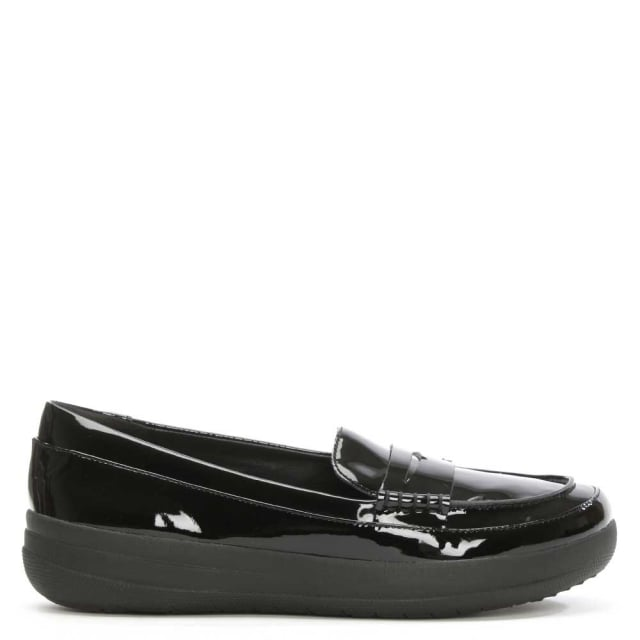 df2ffd94a FitFlop Sporty Black Patent Leather Penny Loafer