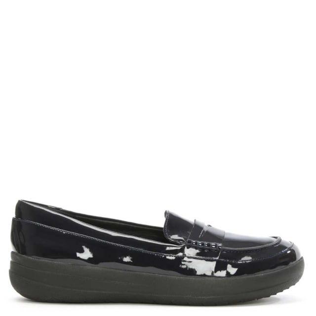 42153d3d4bd FitFlop Sporty Navy Patent Leather Penny Loafer
