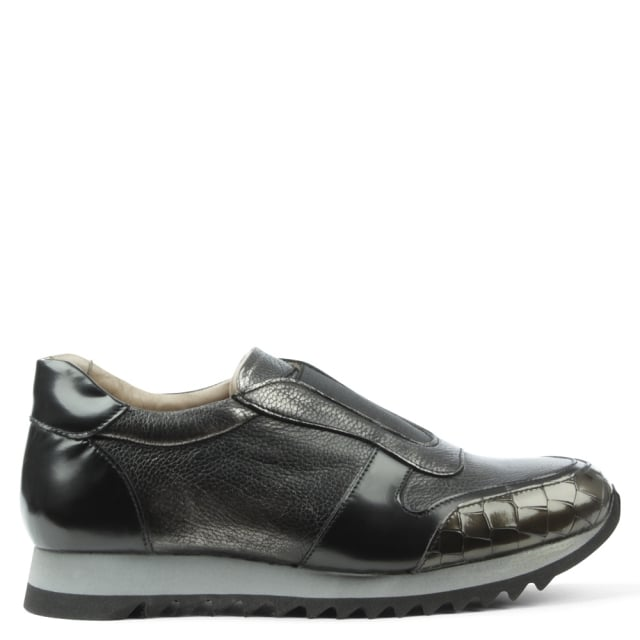 Sporty Pewter Leather Slip On Trainer
