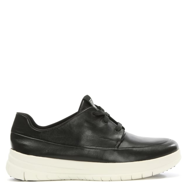 Sporty Pop Black Leather Trainers