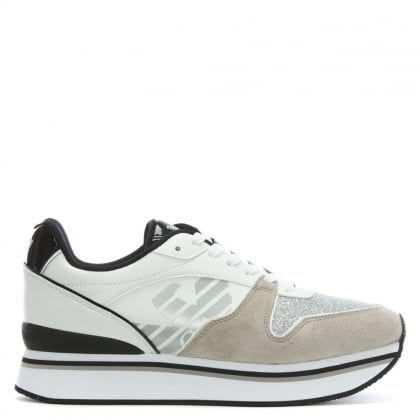 Sporty Runner White Leather Trainers