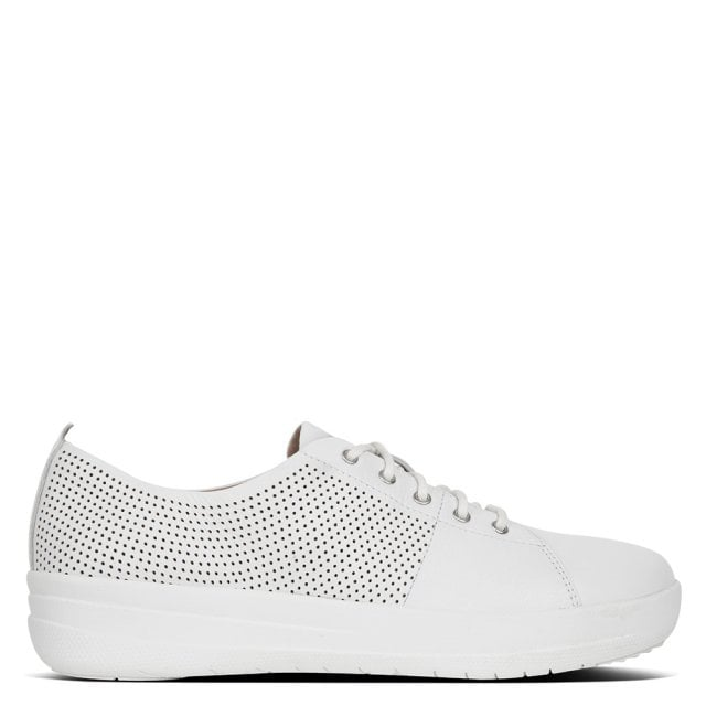 4fc4c41c5b FitFlop Sporty Scoop Cut Perforated White Leather Trainers