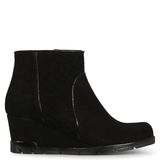 Sprite Black Suede Woven Wedge Ankle Boots