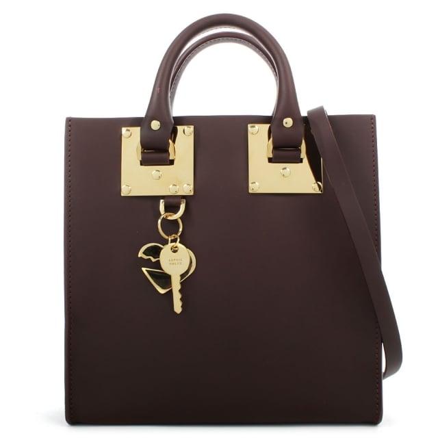 Sophie Hulme Square Burgundy Leather Tote Bag 71b603c683651