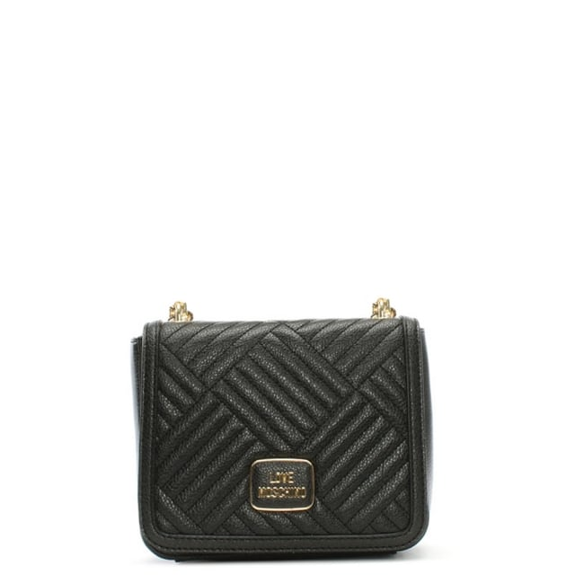 Square Quilted Black Small Shoulder Bag