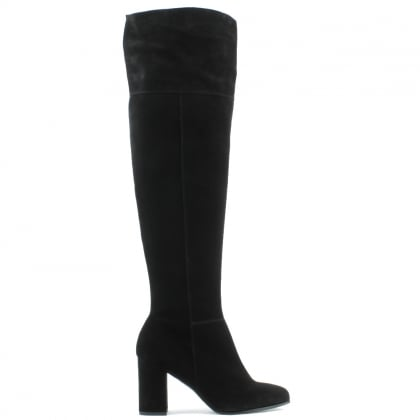Square Toe Black Suede Block Heel Over The Knee Boot