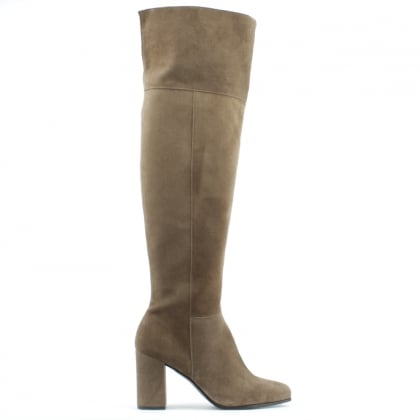 Square Toe Taupe Suede Block Heel Over The Knee Boot