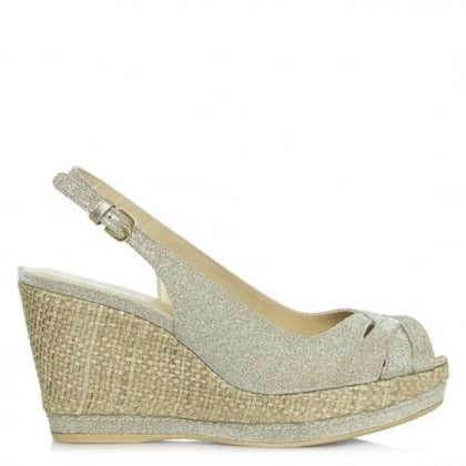 Squint Gold Metallic Sling Back Raffia Wedge