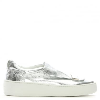SR 1 Addict Silver Metallic Leather Sneakers