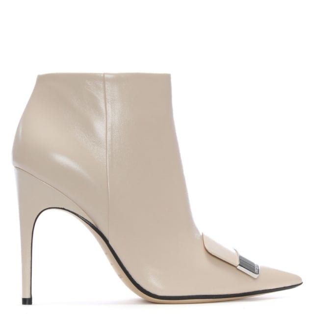 Sergio Rossi SR1 105 Beige Leather Ankle Boots