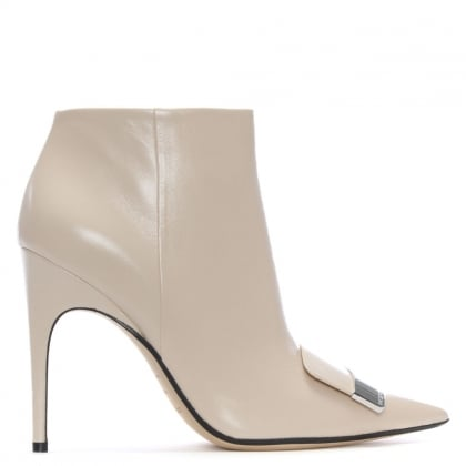 SR1 105 Beige Leather Ankle Boots