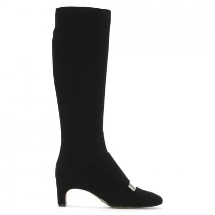 SR1 60 Black Suede Silver Plaque Knee Boots