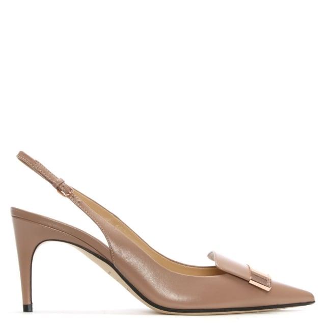 Sergio Rossi SR1 75 Beige Leather Sling Back Court Shoes