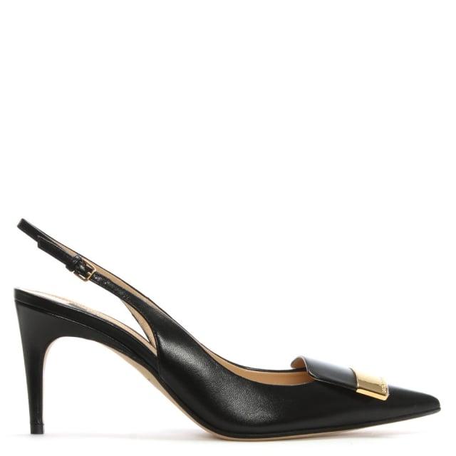 Sergio Rossi SR1 75 Black Leather Sling Back Court Shoes