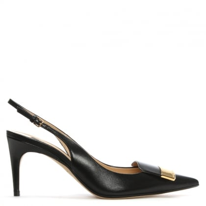SR1 75 Black Leather Sling Back Court Shoes