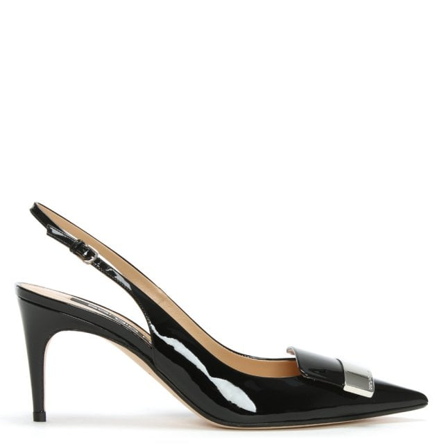 SR1 75 Black Patent Leather Sling Back Court Shoes