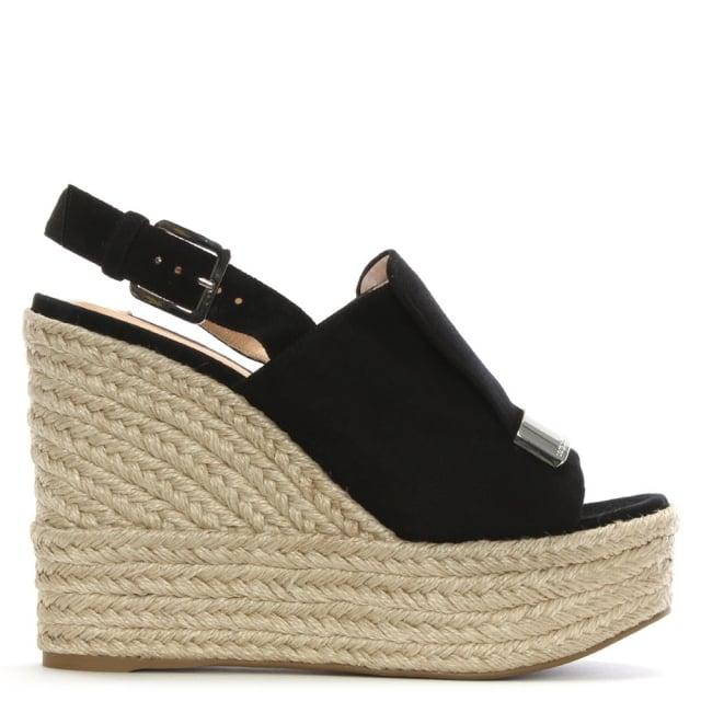 Sergio Rossi SR1 75 Black Suede Jute Trim Wedge Sandals
