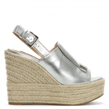 SR1 75 Silver Leather Jute Trim Wedge Sandals