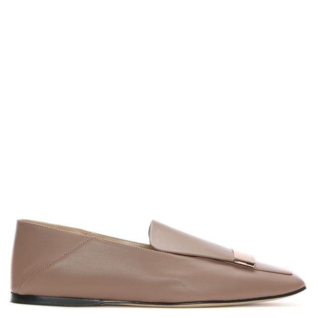 Sergio Rossi SR1 Nude Leather Rose Gold Plaque Loafers