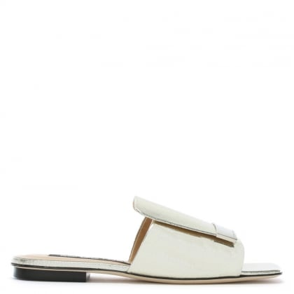 SR1 Silver Metallic Leather Flat Mules