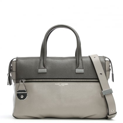 Standard Two Tone Smoke Grey Leather Tote Bag